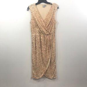 ASOS Twist Front Mesh Sequin Midi Dress